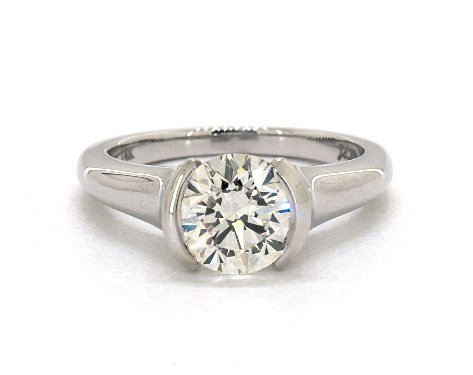 engagement ring settings - half-bezel