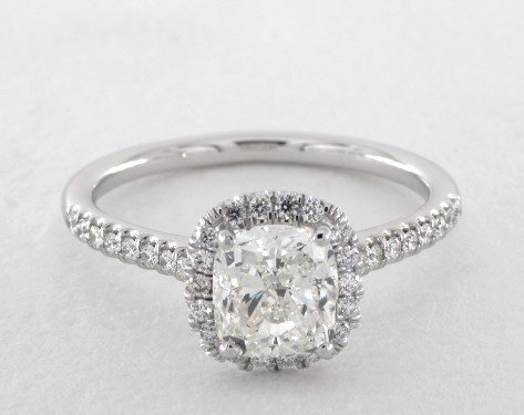 cushion cut diamonds - white gold halo engagement ring