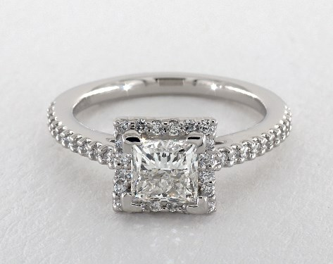 princess square halo - engagement ring setting