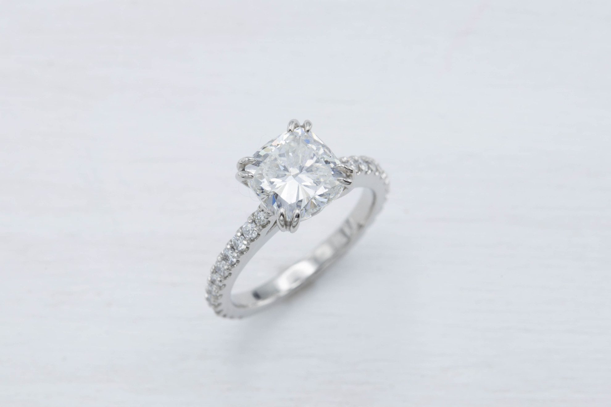 cushion-cut diamonds - 2.1 carat cushion engagement ring