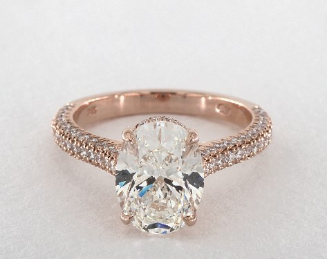 five-carat diamond guide - 3 ct oval diamond in unique rose gold pave engagement ring