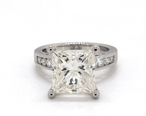 five-carat diamond ring - princess cut with channel-set diamonds