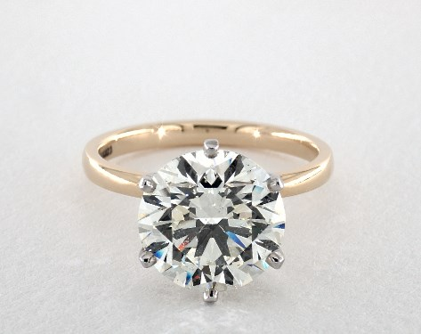 five-carat diamond guide - round solitaire engagement ring
