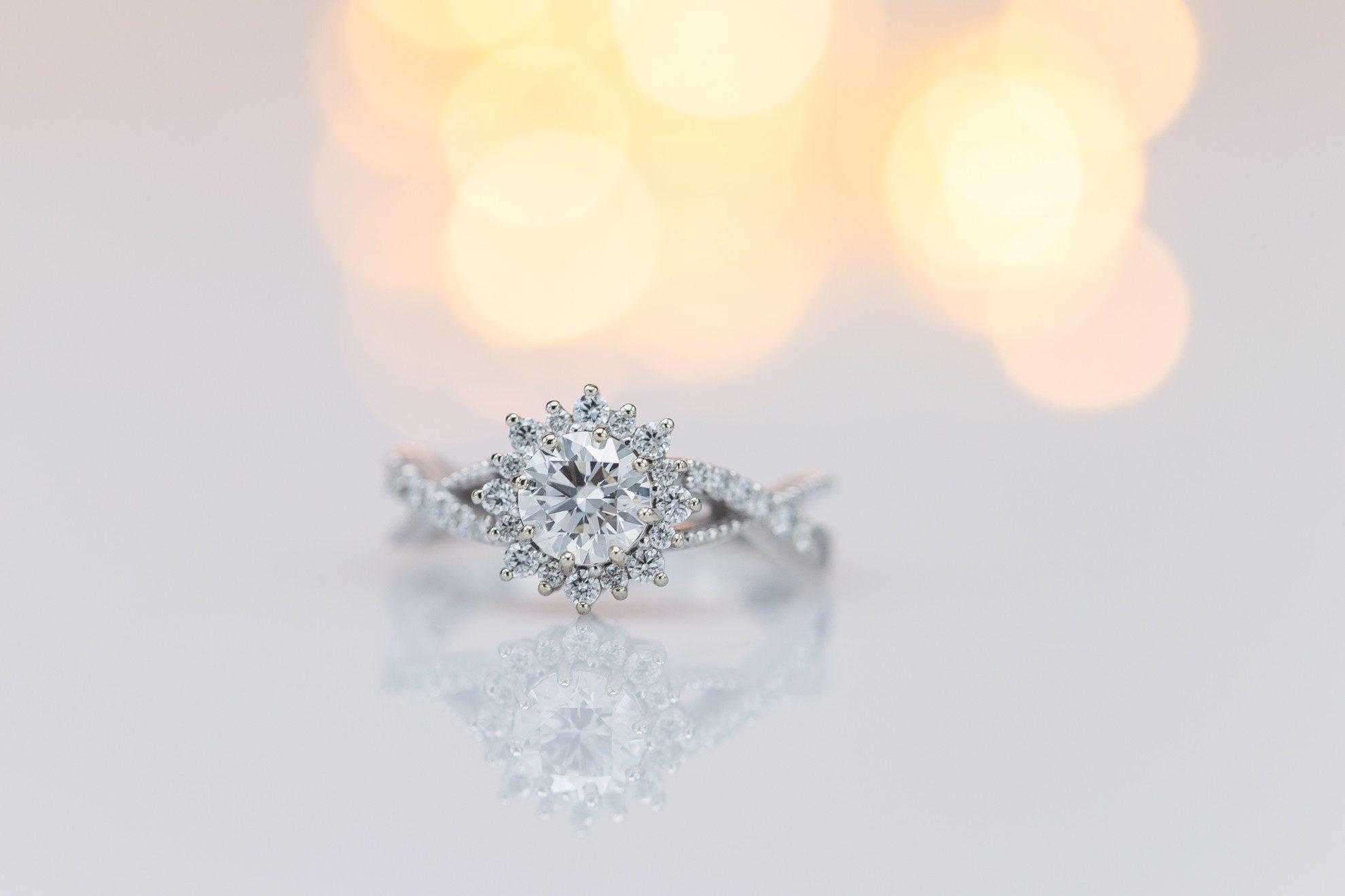 engagement ring setting - twisted pave shank with sunburst halo