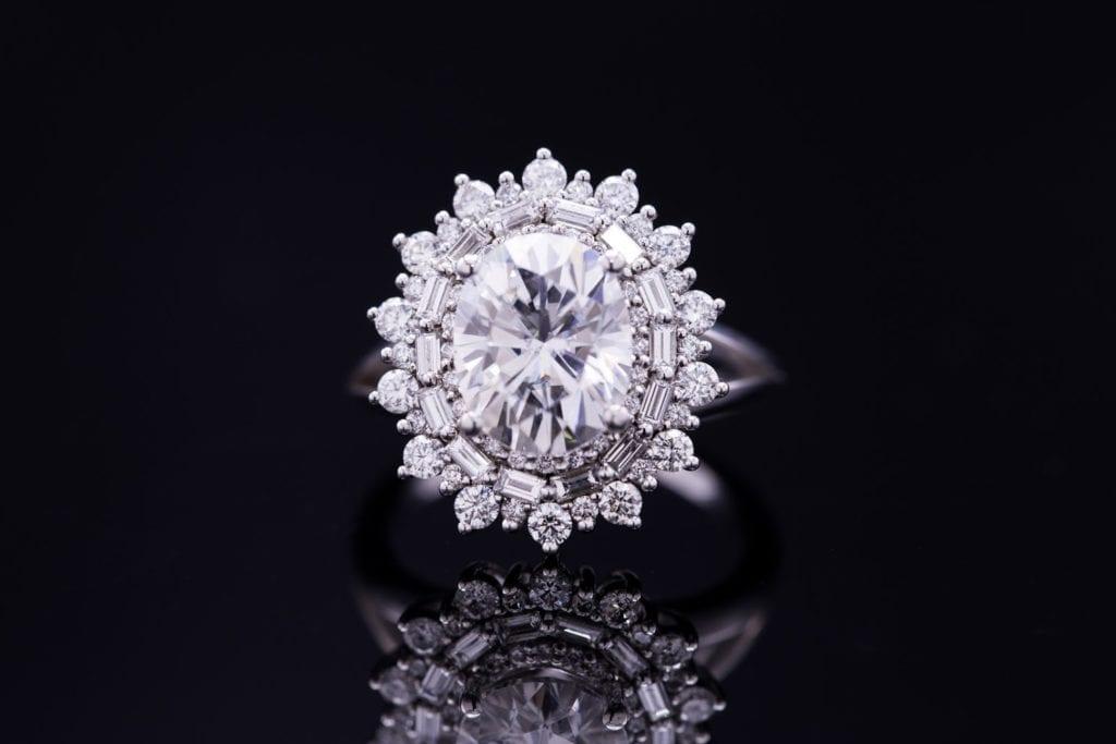 five carat diamond - moissanite oval engagement ring