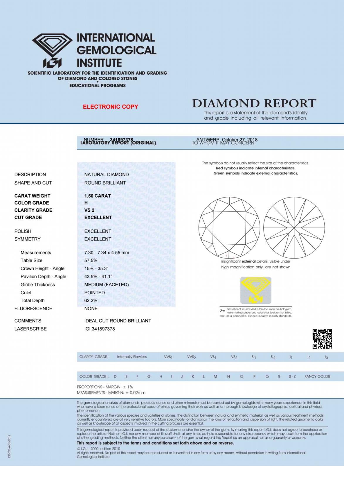 diamond certification - IGI report