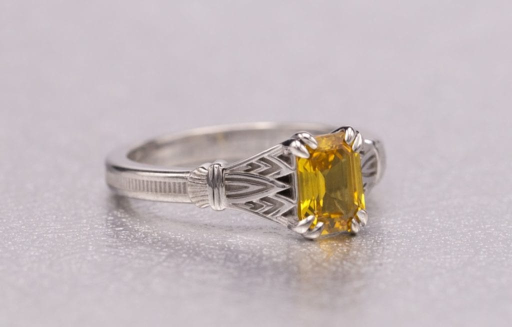 art deco yellow sapphire - engagement ring setting