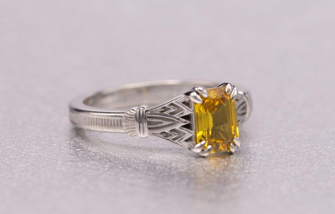art deco yellow sapphire - engagement ring setting