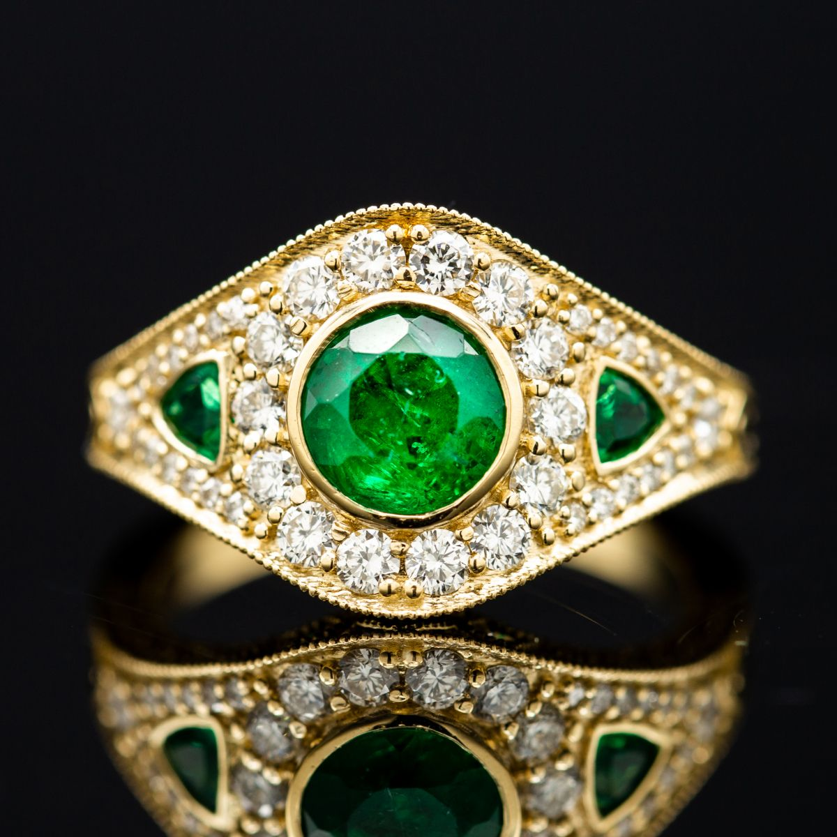 art deco emerald - engagement ring setting
