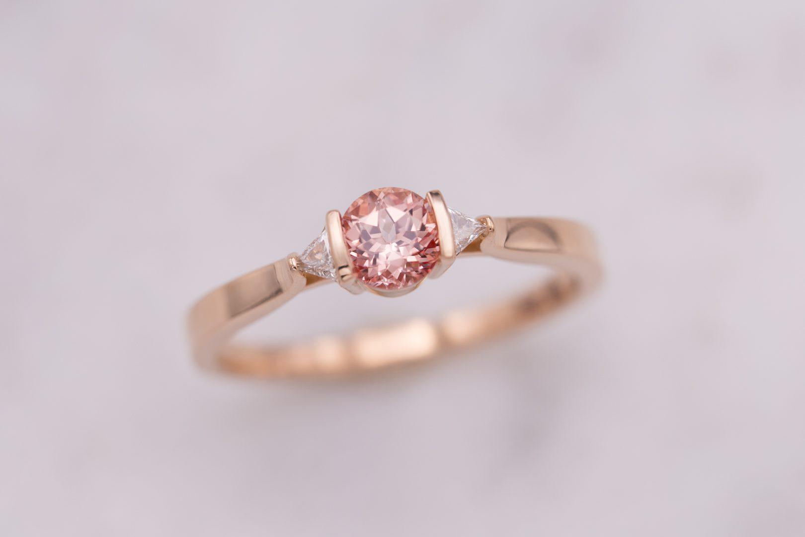 bar-set champagne sapphire three stone - engagement ring setting