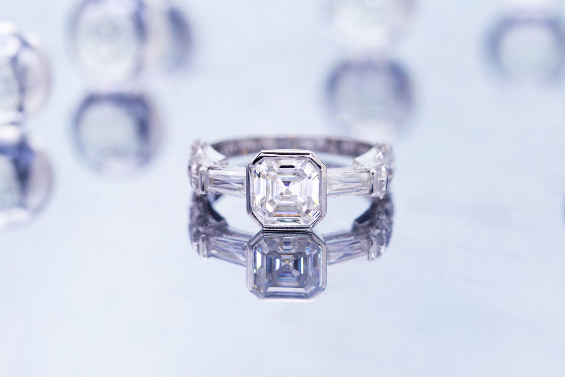 engagement ring settings - bezel-set asscher diamond