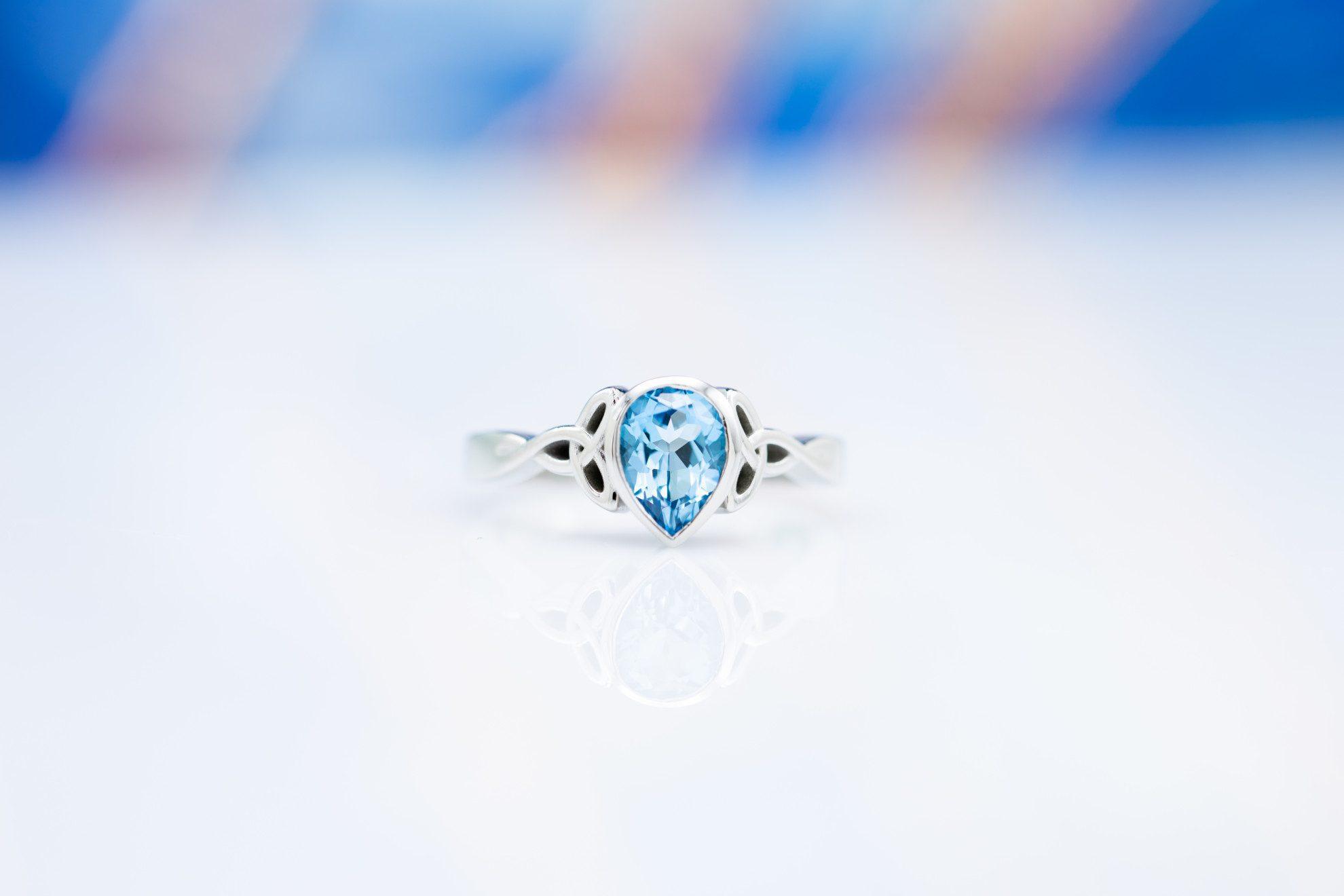 bezel set pear topaz - engagement ring setting