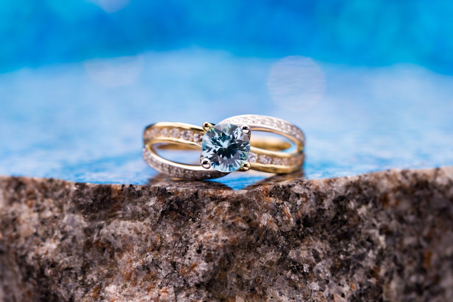 engagement ring setting - blue zircon channel-set diamonds