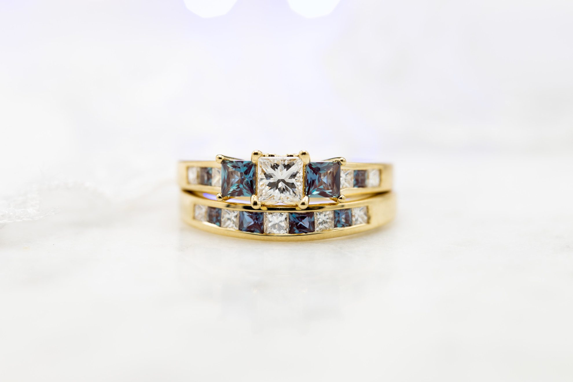 three stone ring with channel set princess diamonds and alexandrites - engagement ring setting