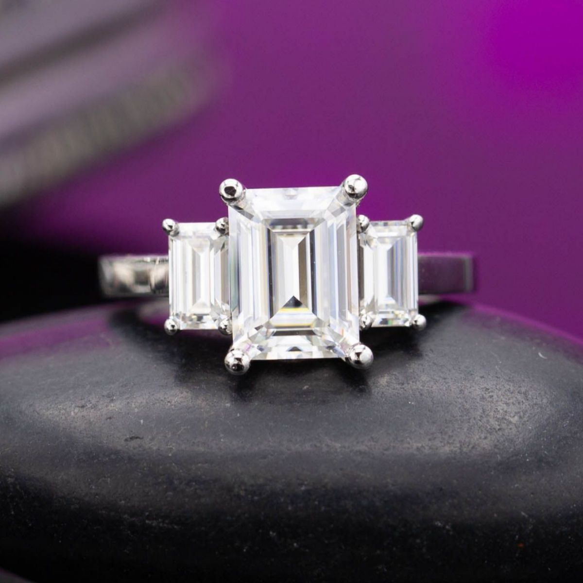 moissanite vs diamond - emerald-cut moissanite engagement ring