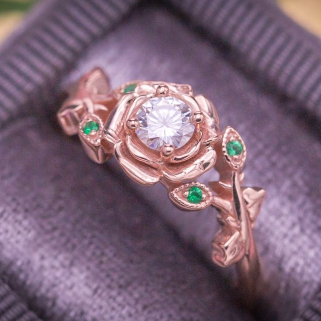 side stones on floral - engagement ring setting