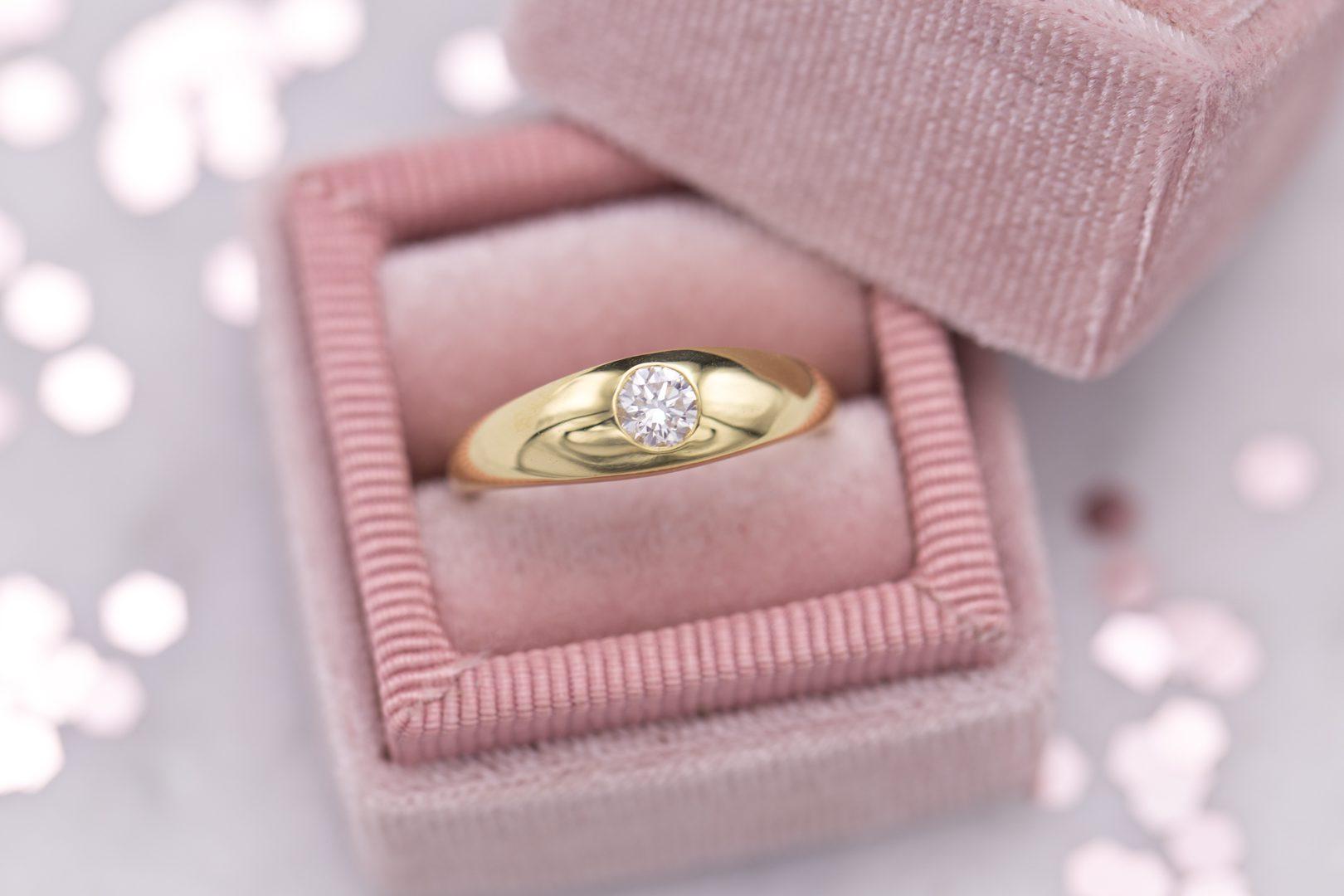 engagement ring setting - flush-set diamond