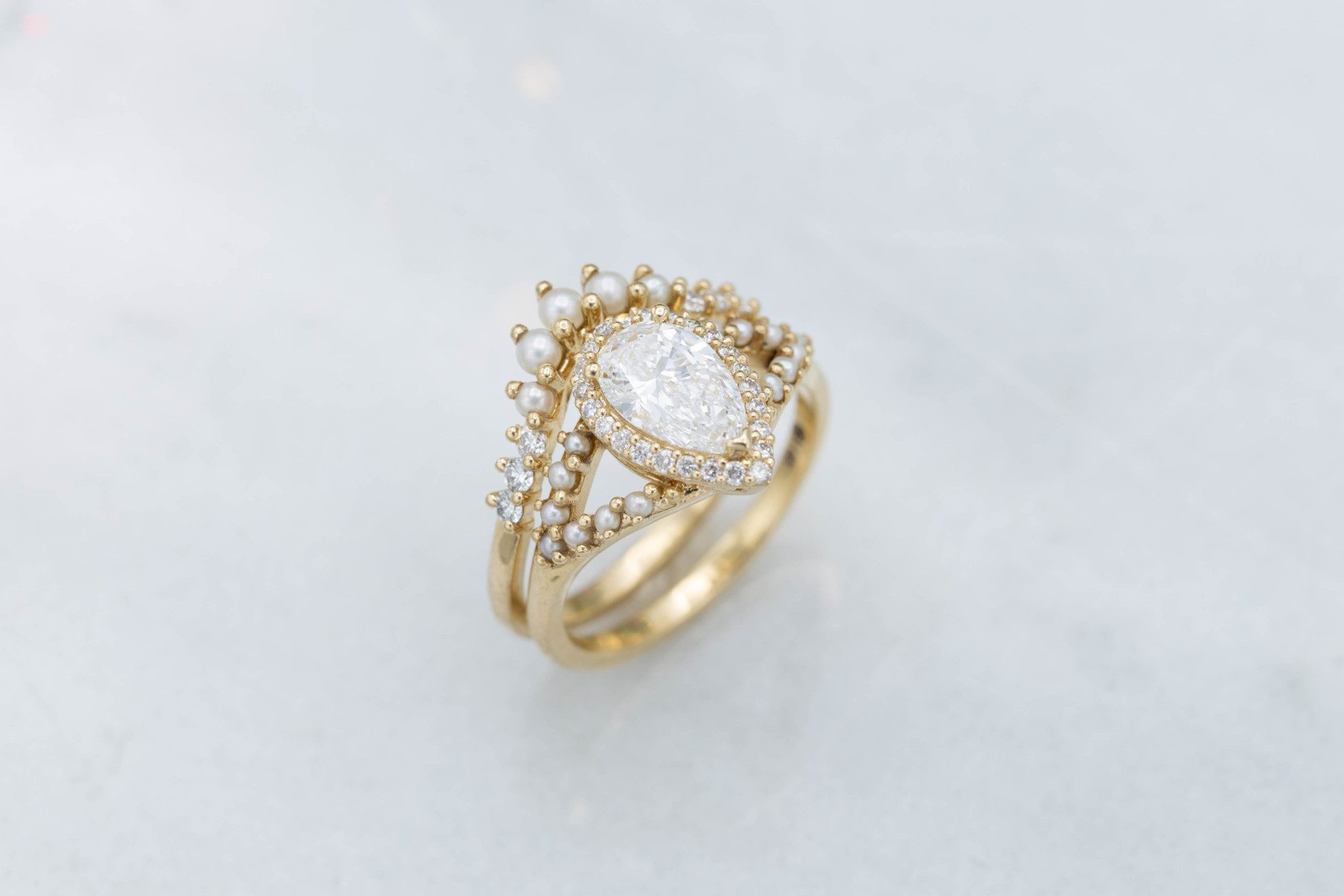 pear-shape with split shank and seed pearls - engagement ring setting