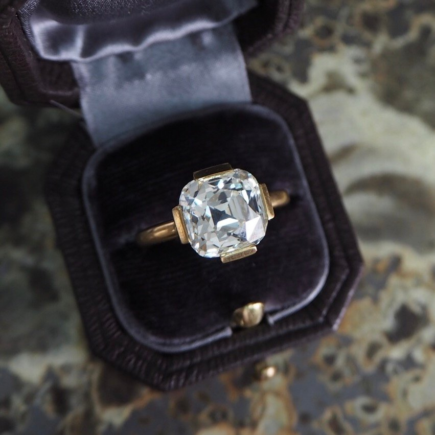 old mine cut - five-carat diamond ring