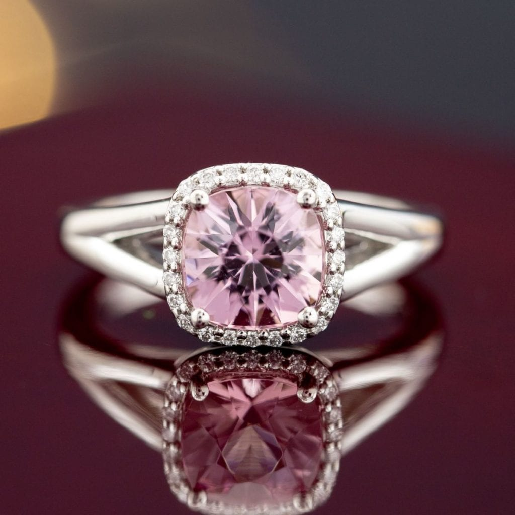 cushion morganite halo with split shank - engagement ring setting
