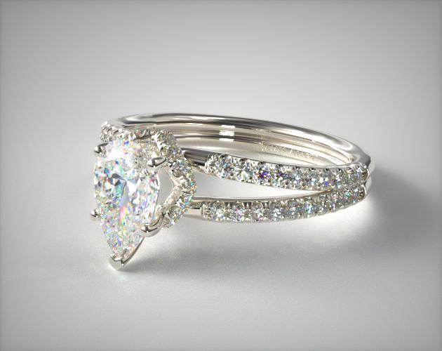 pear pave split shank - engagement ring setting
