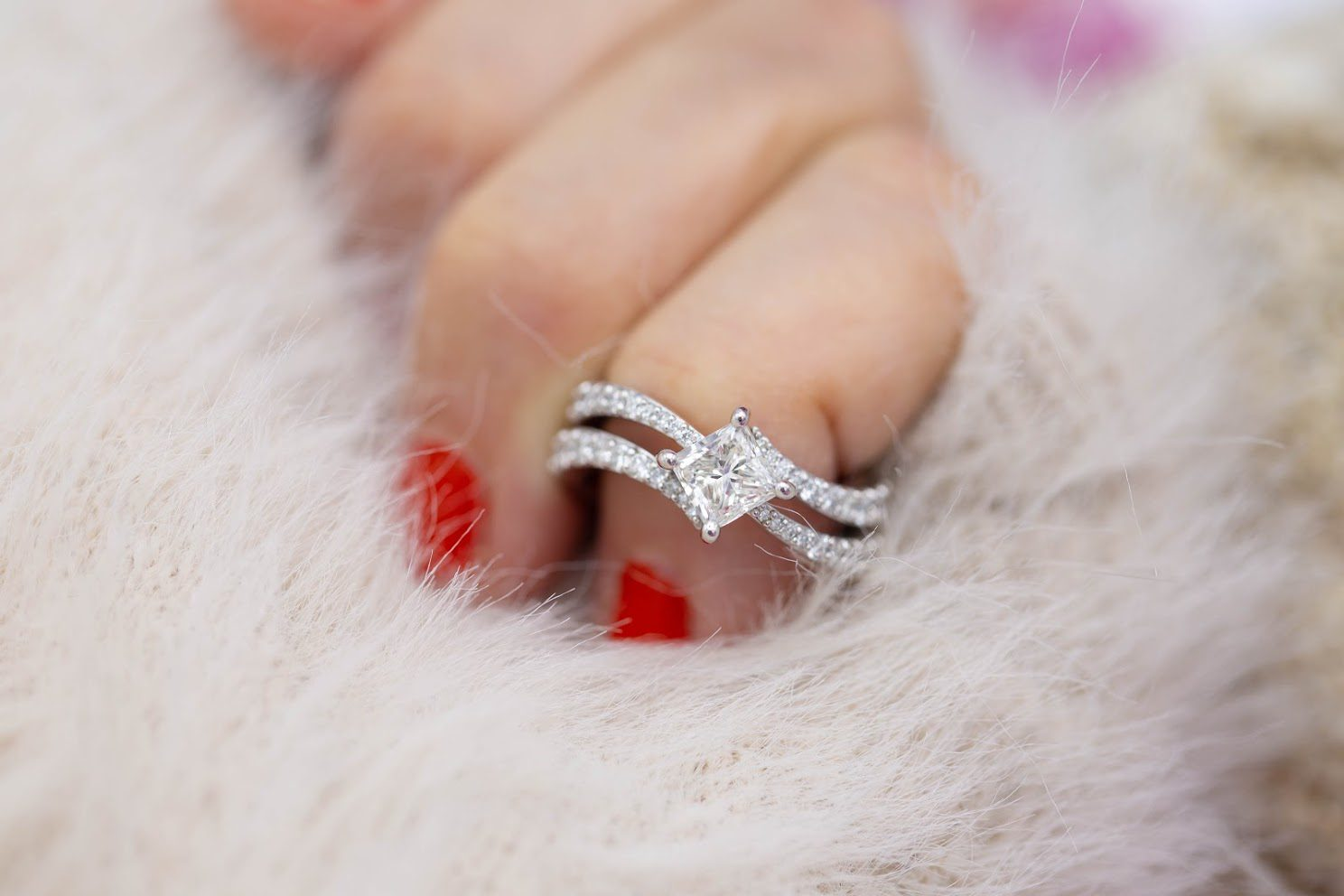 engagement ring setting - pave bands