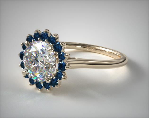 sapphire sunburst halo - engagement ring setting