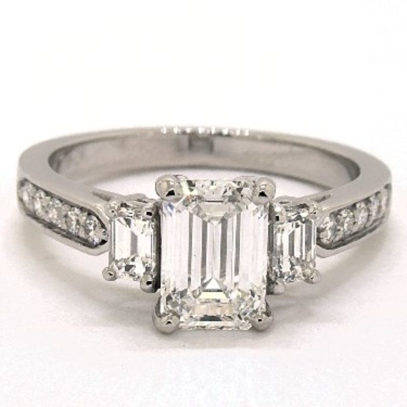 emerald-cut three stone - engagement ring setting