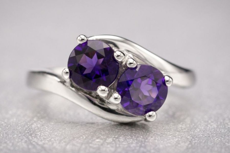two-stone amethyst - engagement ring setting