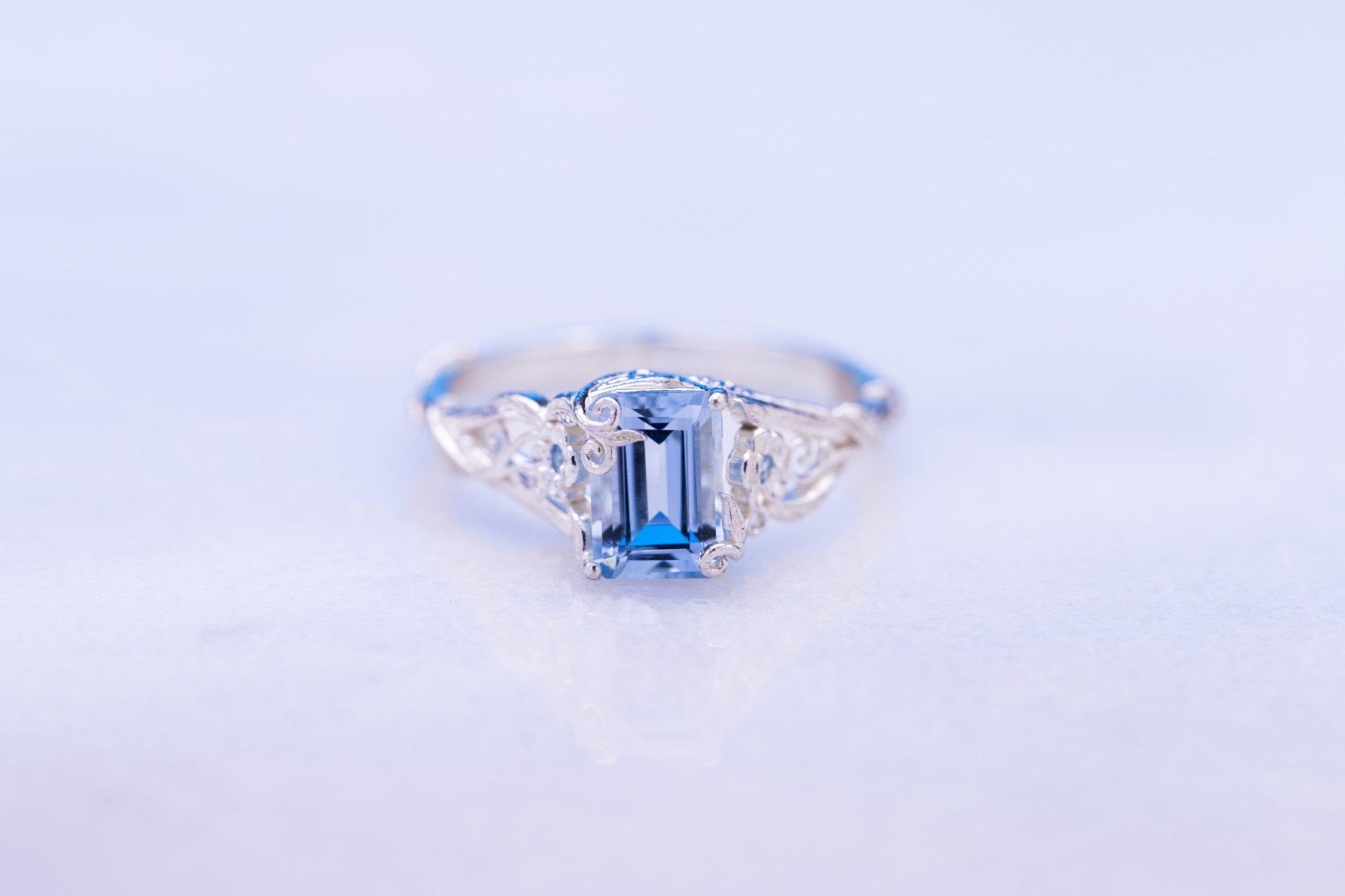 aquamarine and vines - engagement ring setting