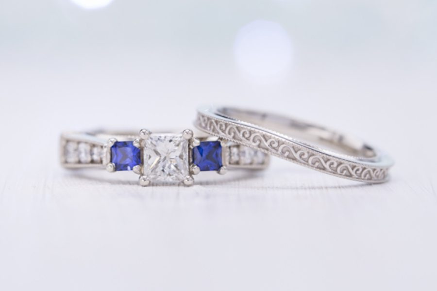 sapphire accent stones - engagement ring setting