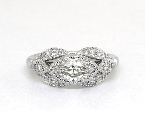 east-west engagement ring - marquise-cut diamonds