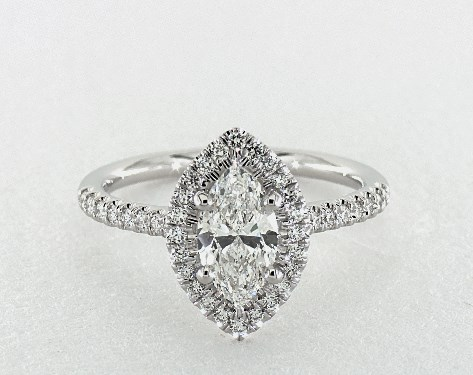 halo engagement ring - marquise-cut diamonds