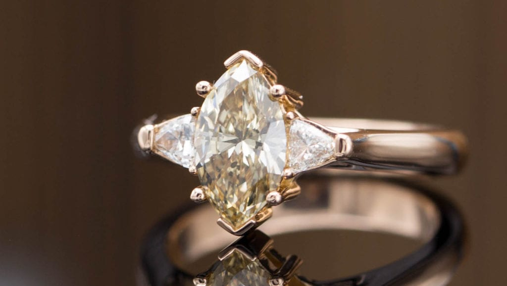 marquise-cut brown diamond