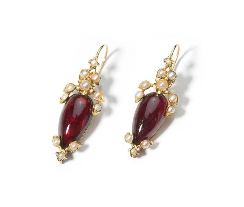 Victorian earrings - gold, pearls, and carbuncles - garnet symbolism and legends