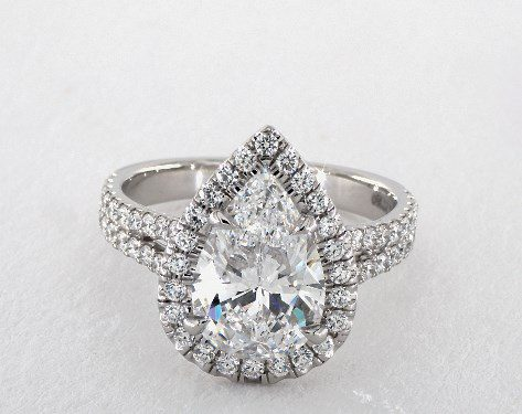 pear-cut halo engagement ring - three-carat diamond guide