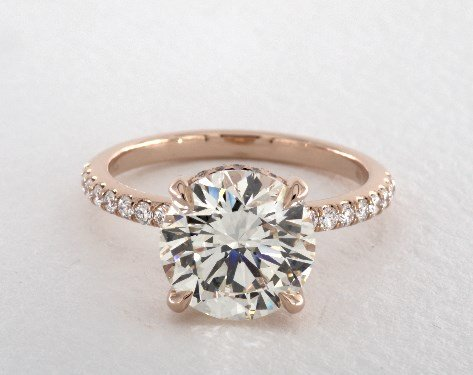 3.17ct rose gold pave engagement ring - what carat diamond should I choose