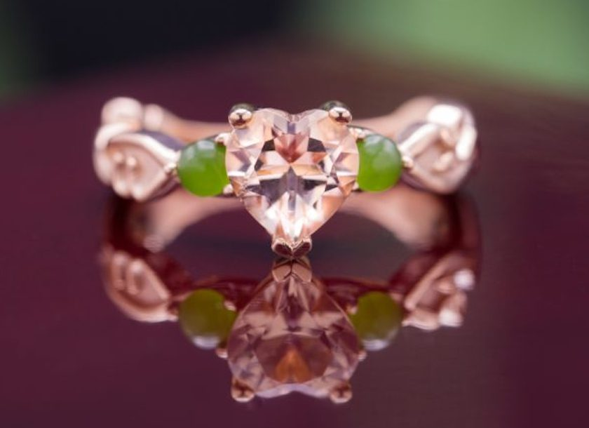 morganite and nephrite jade ring - gemology career options