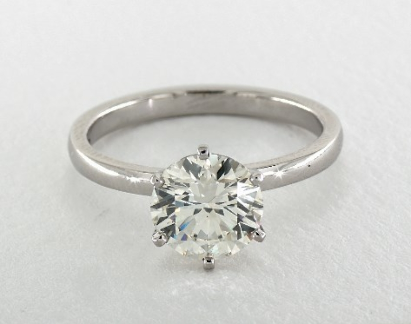 J SI1 in platinum engagement ring - two-carat diamond ring guide