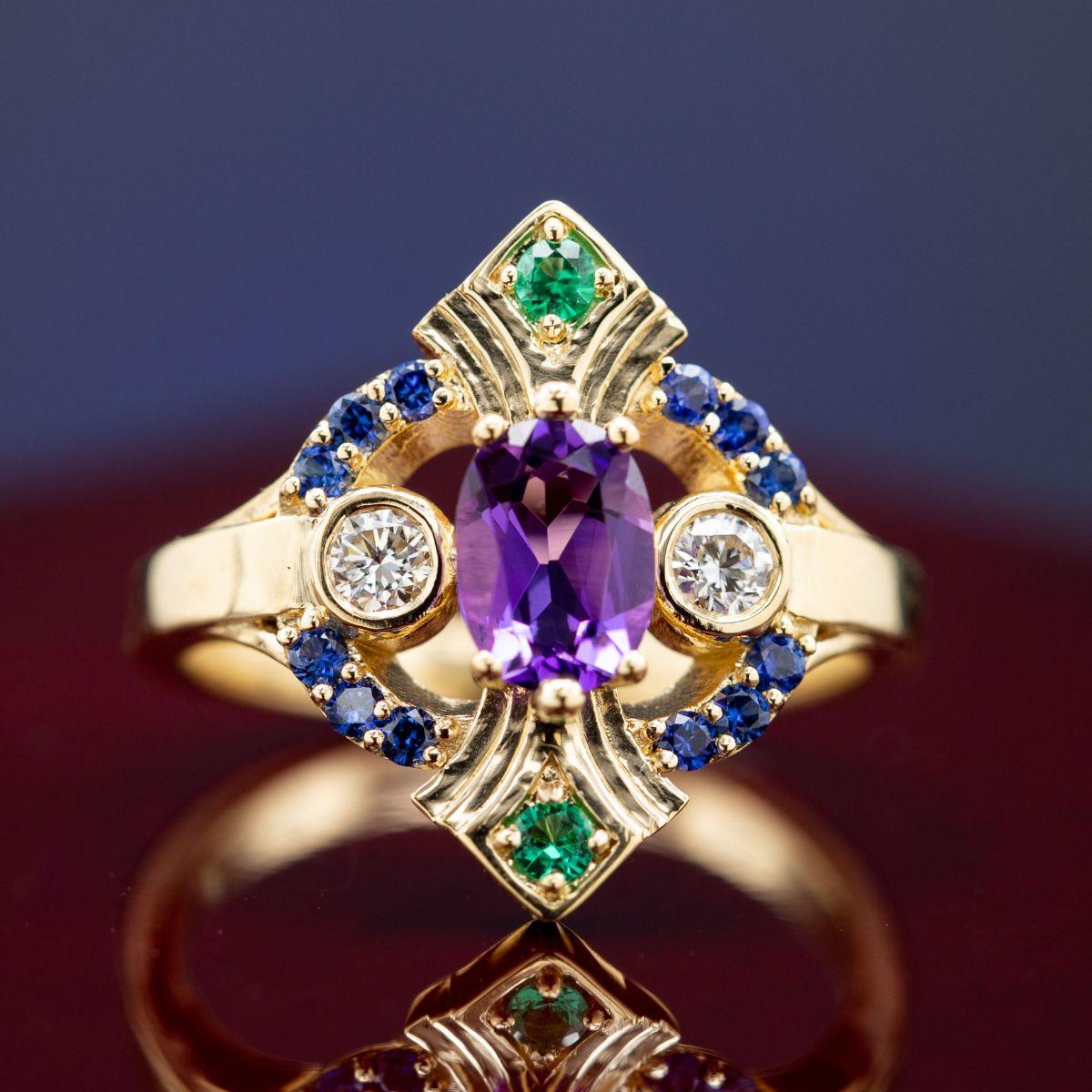 art deco bold colors - vintage engagement rings