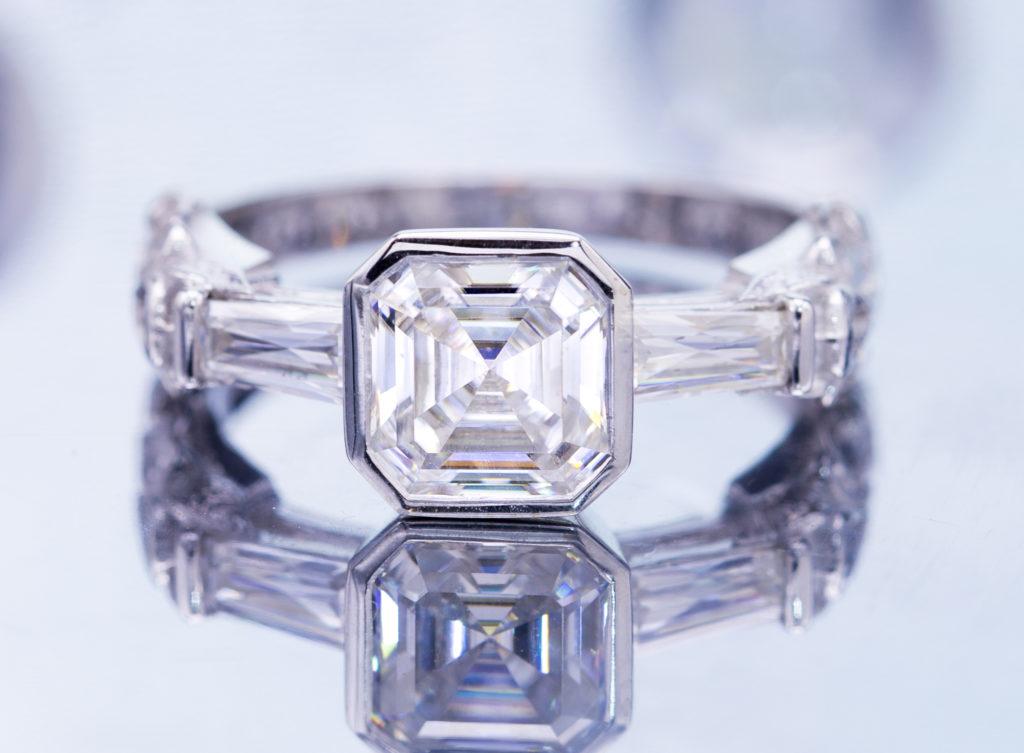 bezel set asscher diamond - engagement ring setting