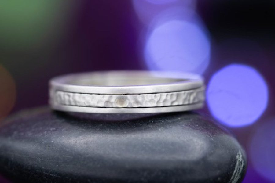 wire brush and hammered textures - engagement ring setting