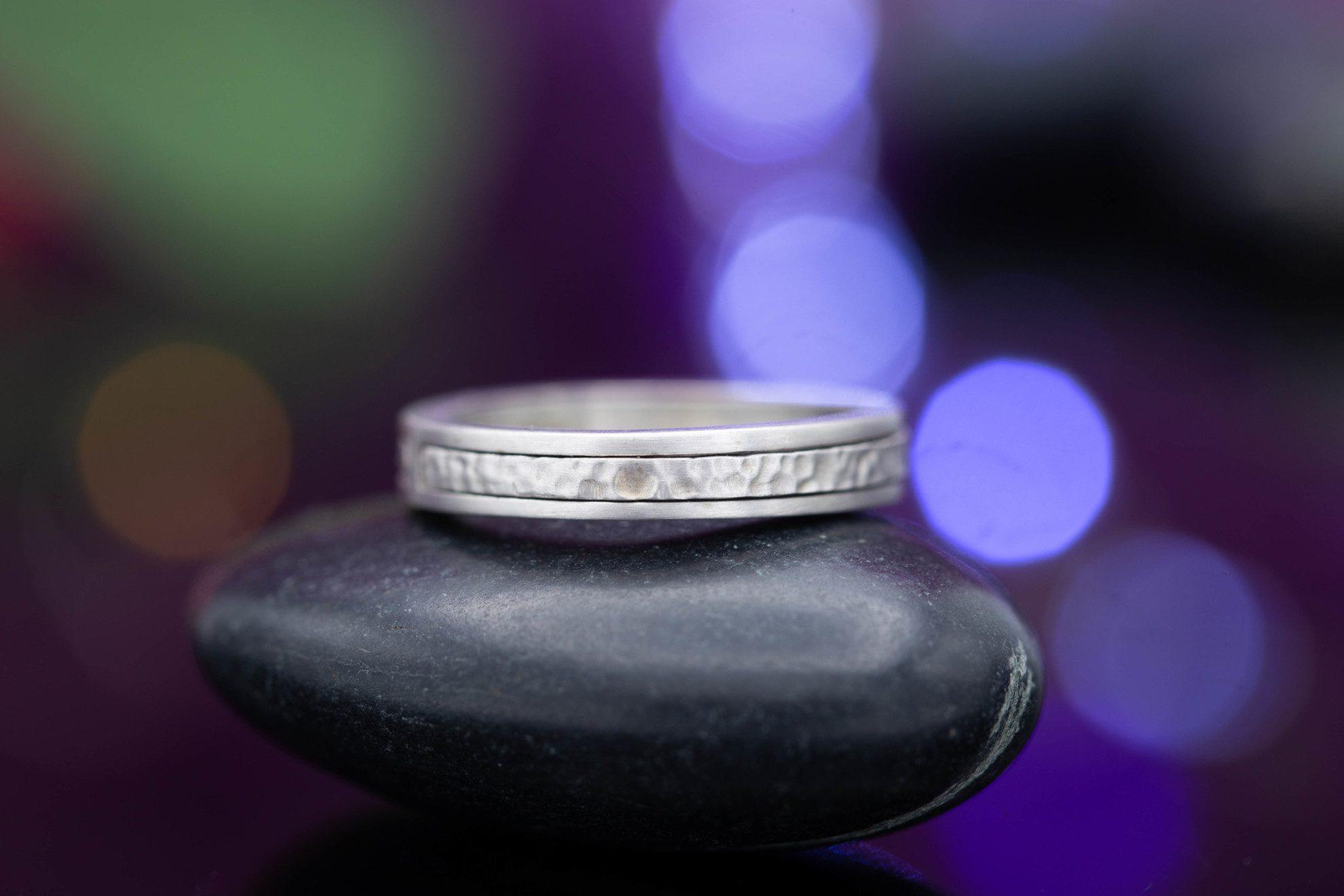 brush and hammer band - engagement ring setting