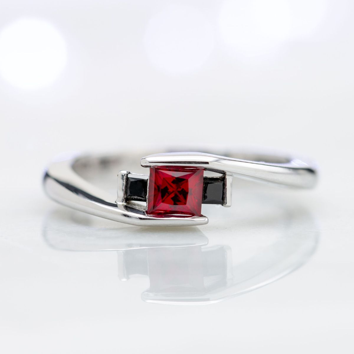 ruby and onyx bypass - vintage engagement rings