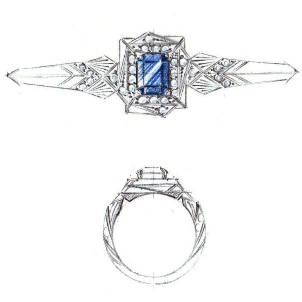modern art deco sketch - vintage engagement rings