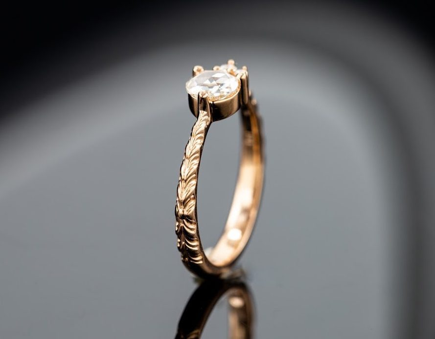 engraved band - engagement ring setting