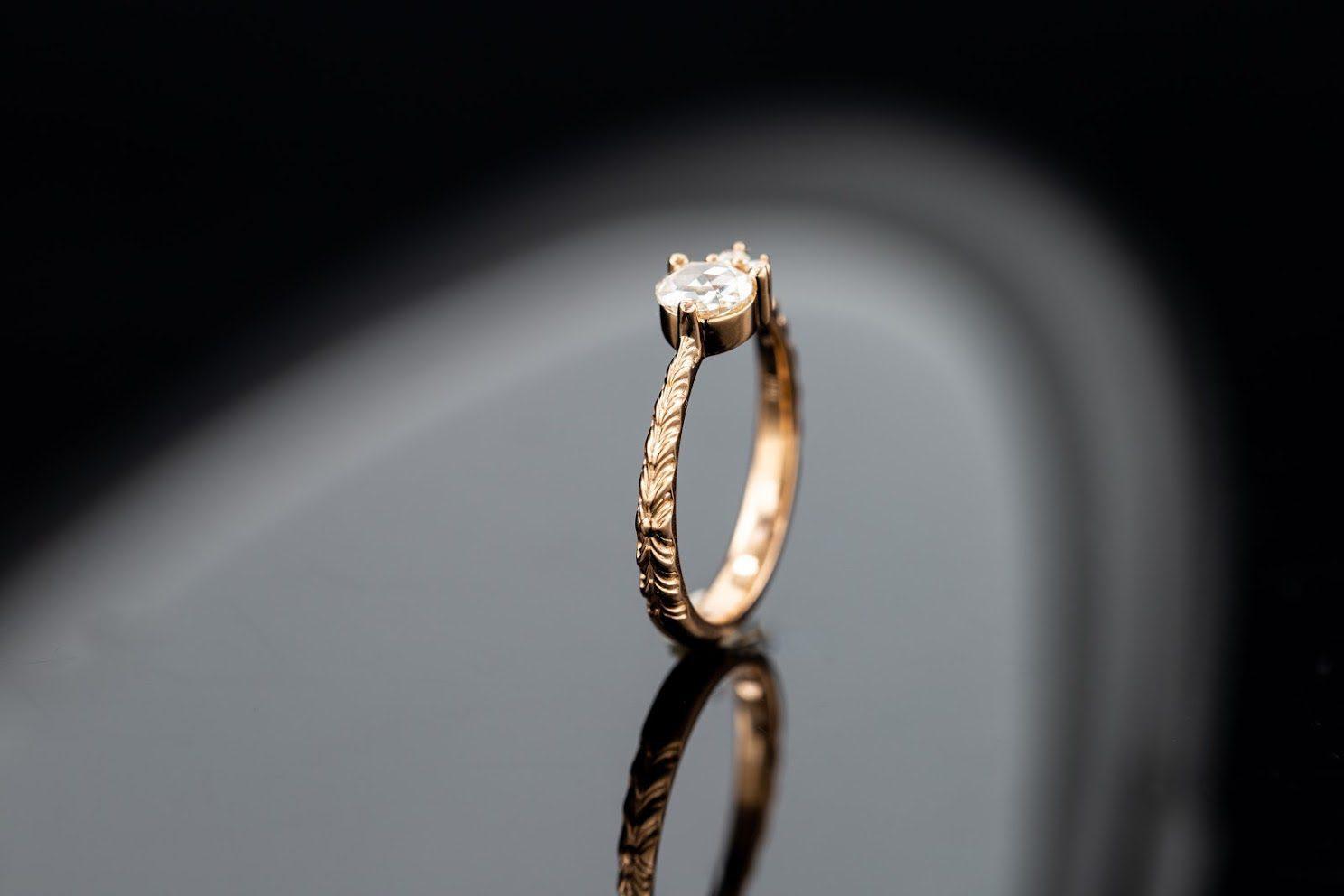 engraved band - engagement ring setting