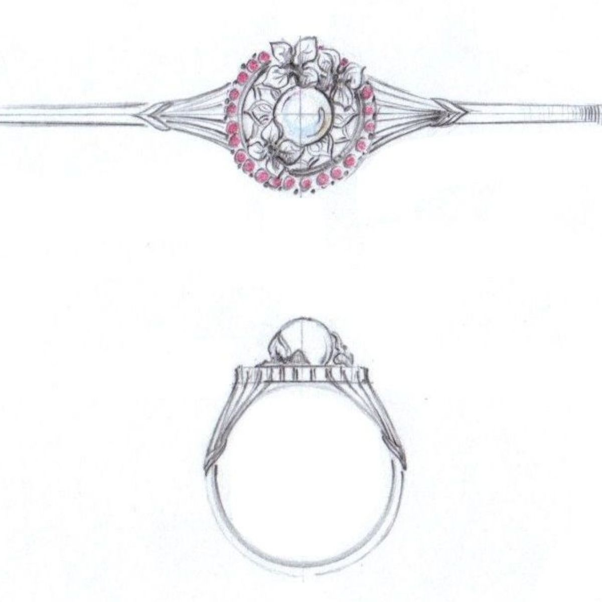 floral halo pearl ring sketch - vintage engagement rings