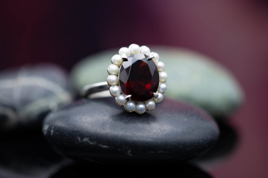 garnet with seed pearl halo - engagement ring setting