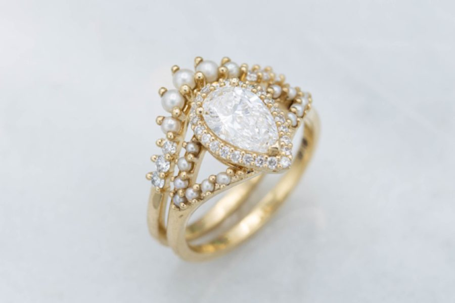 halo setting with seed pearls - engagement ring setting